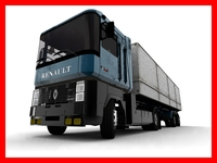 renault semi truck with container 3D Model