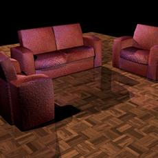 2 and single Sofa Set 3D Model
