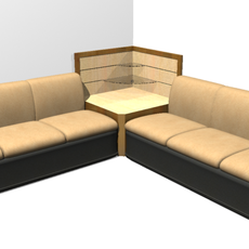Sofa Set + Corner Unit 3D Model
