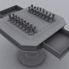 Chess Set with Table 3D Model
