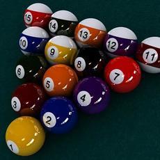 Pool Ball Starter Set - Scanline Version 3D Model