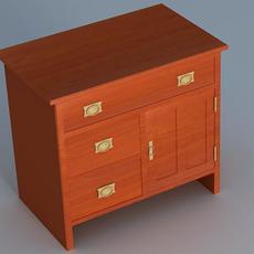Three Shelf Cabinet 3D Model