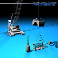Crane with dipper bucket 3D Model