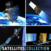 4 Satellites collection 3D Model