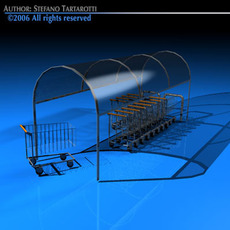 Shopping carts with cover 3D Model
