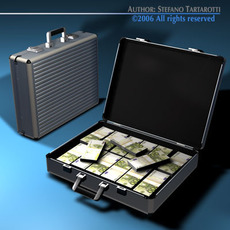 Suitcase with euro 3D Model