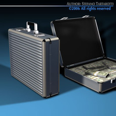Suitcase with Dollars 3D Model