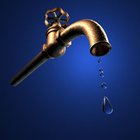 Tap with water drops 3D Model