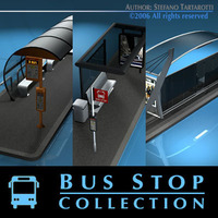 Bus stop collection 3D Model
