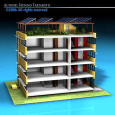 Ecological building cutaway 3D Model