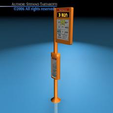 Bus stop pole 3D Model