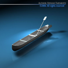 Canoe with paddles 3D Model