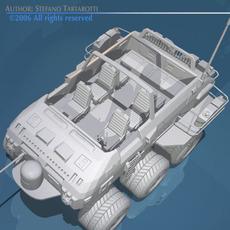 Desert rover with wheels 3D Model