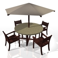 Table with parasol 3D Model