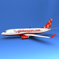 Boeing 737 Fly Globe Span 3D Model
