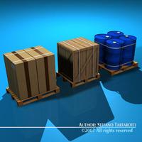 3 pallets 3D Model