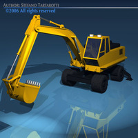 Excavator with wheels 3D Model