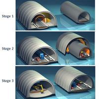 Highway tunnels cutaway 3D Model