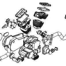 V-Twin Motorcycle Engine, Transmission and Starter 3D Model