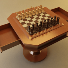 Chess Set with Table - Vray 3D Model