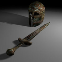 Greek sword and helmet 3D Model