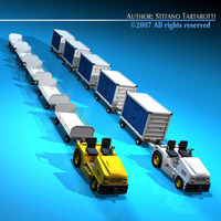 Airport baggage trailer 3D Model