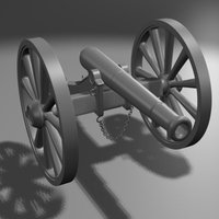 Civil War Era Cannon 3D Model