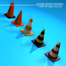 Road cones collection 3D Model