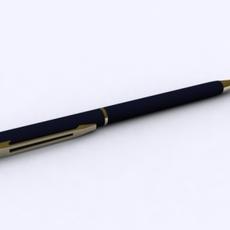 Blue Pen with Gold 3D Model
