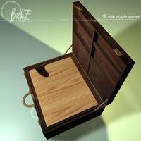 wooden suitcase 3D Model
