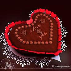 Valentine chocolate cake 3D Model
