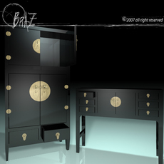 Chinese cabinet & closet 3D Model