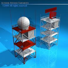 Airport radar towers 3D Model