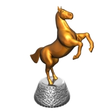 Golden statuette of horse 3D Model