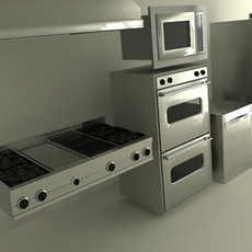 Viking Kitchen Appliances - stove cooktop microwave refrigerator oven 3D Model