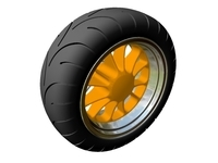 Motorcycle Rear Wheel & Tire 3D Model