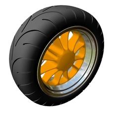 Motorcycle Rear Wheel & Tire 3D Model