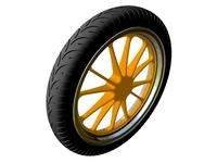 Motorcycle Front Wheel & Tire 3D Model