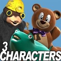 3 Cartoon characters bundle 3D Model