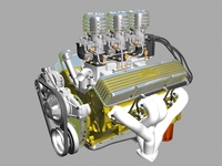 3x2 Stromberg Chevrolet V8 Engine 3D Model