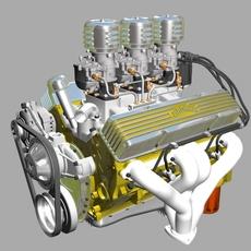 3x2 Stromberg Chevrolet V8 Engine 3D Model