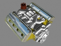 Early Hemi V8 Engine 3D Model