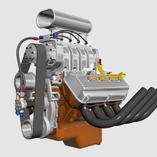 Early Hemi V8 with Blower 3D Model