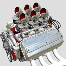 6x2 Stromberg Hemi V8 Engine 3D Model