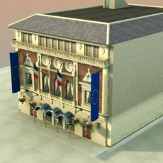 French Town Hall 3D Model