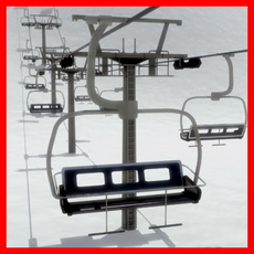 Chair Lift and Tower 3D Model