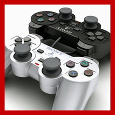 PS2 Controller - Dualshock 2 (Black and Silver Edition) 3D Model