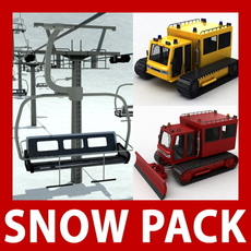 Snow Pack - Chair lift, snowcat and snowplow 3D Model