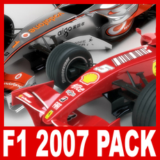2007 F1 McLaren and Ferrari Pack 3D Model