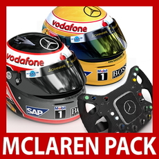 2007 F1 McLaren Helmets and Steering Wheel 3D Model